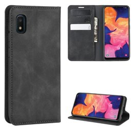 business card holder magnetic Australia - For Galaxy A10 Retro-skin Business Magnetic Suction Leather Case with Holder & Card Slots & Wallet