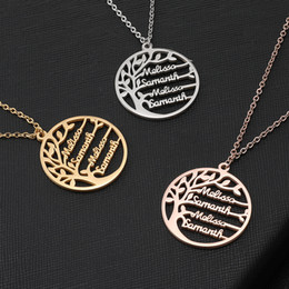 $enCountryForm.capitalKeyWord Australia - Personalized Tree Of Life Custom Name Necklace Stainless Steel Golden Family Tree Women Letter Necklace Jewelry Couple Gifts