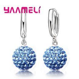 cb64a147e Hoop Earrings Crystal Balls Australia - YAAMELI Hot Sale Multicolors One  Pair 925 Sterling Silver Austrian
