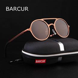 Vintage Aluminum Glasses Australia - Barcur Retro Aluminum Magnesium Sunglasses Polarized Vintage Eyewear Accessories Women Sun Glasses Driving Men Round Sunglasses Y19052001