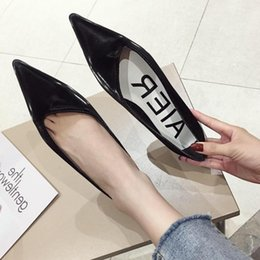 wide work shoes NZ - Current2019 Are Seasons Thin And Thin. Sharp Flat Shoes Black Low With Work Shallow Mouth Single Shoe Woman