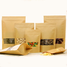 $enCountryForm.capitalKeyWord Australia - E-co Food Class Kraft Paper Bag With Window Different Sizes Custom Printing Logo Brown Kraft Packing Bag