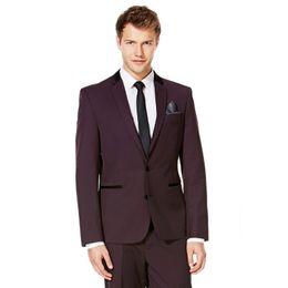 $enCountryForm.capitalKeyWord UK - New Arrival Groomsmen Notch Lapel Groom Tuxedos Burgundy Wine Men Suits Wedding Best Man (Jacket+Pants) B897