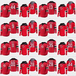 John T Shirts Australia - New Jersey Devils Nico Hischier Taylor Hall Travis Zajac Schneider Palmieri Butcher Kinkaid Miles Wood Long Sleeve T-shirt Hoodies Jersey