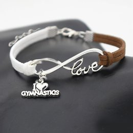 jewelry gymnastics Australia - Bohemian Infinity Love Gymnastics Sports Pendant Charm Bracelets Weave 2019 Woman Mens Handmade White Brown Leather Suede Rope Jewelry Gifts