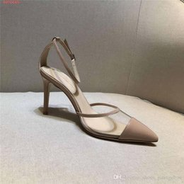 $enCountryForm.capitalKeyWord Australia - High-heeled sandals two slim translucent PVC strap sexy big Fashion strip high-heeled Stitching head Pointed sandals
