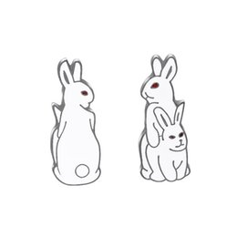 $enCountryForm.capitalKeyWord Australia - White Rabbits Brooch Evil Animal Bunny Enamel Metal Buckle Pin For Coat Shirt Bag Jacket Collar Lapel Pin Badge Jewelry Gift