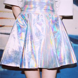 raves clothing NZ - Women Vinyl Harajuku Circle Skirt Silver Holographic Rave Festival Clothes Outfits Laser Hologram Foil Fabric Skater Skirt