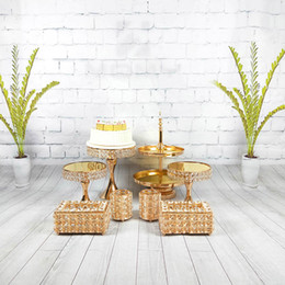 $enCountryForm.capitalKeyWord Australia - 8pcs set Crystal cake stand set mirror& metal surface fondant cupcake sweet table candy bar table decorating