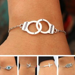 $enCountryForm.capitalKeyWord NZ - Handcuffs Evil Eye Infinity Bird Bicycle Wings Love Vintage Silver Charms Cuff Bracelets Anklets Bangles Jewelry Women Simple Gifts