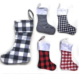 $enCountryForm.capitalKeyWord Canada - Christmas Decoration Plaid Stocking Gift Wrap Bag Christmas Tree Decoration Sock Personalize Kids Candy Gift Bags X-mas Stockings New Design