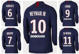 Wholesale neymar shorts resale online – customized Thai Quality long sleeve Soccer Jerseys shirts Away Home CAVANI NEYMAR JR Di María Mbappé Jesé football wears