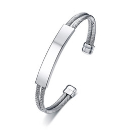 Id cables online shopping - Stainless Steel Row Cable Wire Cuff Bracelet with ID Tag Bangles Brackelts Women Men Jewelry