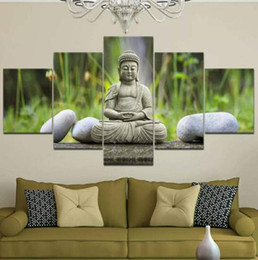$enCountryForm.capitalKeyWord Australia - HD Print 5pcs Canvas Wall Art Stone Buddha Painting Modern Home Decor Wall Art Picture for Living Room Decor Painting No Frame