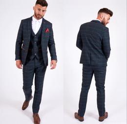 Brown Herringbone Suit Australia - New Herringbone Plaid Groom Wedding Tuxedos Slim Fit 3 Pieces Notched Lapel Mens Pants Suits High Quality Designer Jackets