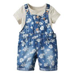 Girls 2t Suit Style Clothing Sets UK - 2019 Summer girls clothes short sleeve cotton T-shirt+Denim suspender shorts Girls Outfits 2pcs Kids Sets Best Suits children clothing A2660
