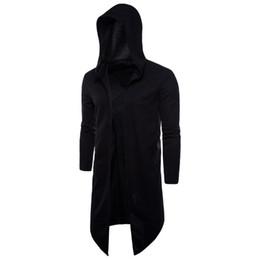 Wholesale cape coat men black for sale - Group buy Mens Fashion Black Cape Long Trench Coat Cardigan Windbreaker Overcoat Coat Slim Hooded Long Sleeve Jacket Plus Size XL