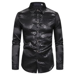black sequin mens shirt Australia - Black Silk Satin Shirt Men 2019 Fashion Sequins Nightclub Mens Dress Shirts Slim Fit Long Sleeve Wedding Tuxedo Chemise Homme