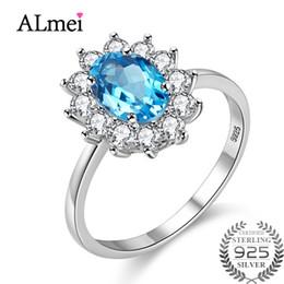 $enCountryForm.capitalKeyWord NZ - Almei Blue Topaz Diana Wedding Ring for Bridal Female Genuine 925 Sterling Silver Flower Costume Jewelry with Box 10% CJ013