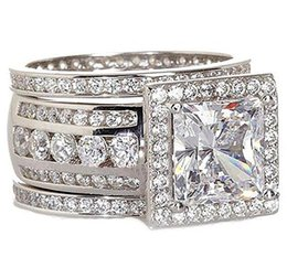 China Gold Stunning NZ - Size 5-10 choucong Stunning Sparkling Fashion Jewelry 10KT White Gold Filled 8mm Princess Cut Topaz CZ Diamond Women Wedding 3 IN 1 Ring Set