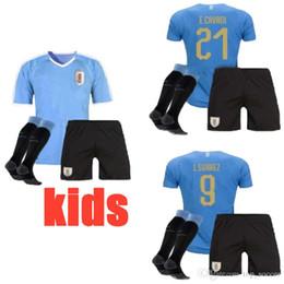 National Football Jerseys NZ - new 2019 2020 kids Uruguay Soccer Jersey 19 20 Home 9 L.suarez 21 E.cavani Soccer Shirt #3 D.GODIN Away National Team Football Uniforms