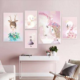 canvas prints for kids room Australia - Pink Nursery Girl Flower Wall Art Canvas Painting Horse Swan Nordic Posters and Prints Wall Pictures for Living Room Kids Room