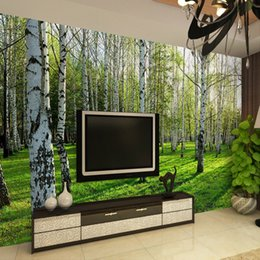 Discount photo background forest - Custom 3D Three-dimensional Mural Wallpaper Living Room Bedroom Sofa TV Background Wallpaper Green Birch Forest Photo Wa
