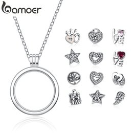 Floated glass online shopping - BAMOER Genuine Sterling Silver Medium Petite Memories Floating Locket Necklaces Pendants Sterling Silver Jewelry PSF001