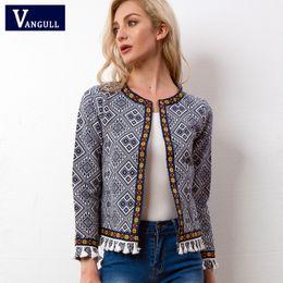 Tassel fringe jackeT online shopping - Vangull Tribal Embroidered Jacket Blue Vintage Fringe Tape Trim Women Autumn Coat Spring Long Sleeve Tassel Boho