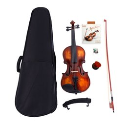 Bow rosin online shopping - Strings Size Classic Solid Wood Violin with Case Bow Violin Strings Rosin Shoulder Rest Kit Electronic Tuner33