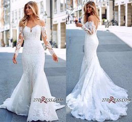ec1b3b53e2e Exquisite Full Lace Mermaid Wedding Dresses 2019 Off The Shoulder Long  Sleeves Bridal Gowns Custom Made Engagement Dresses