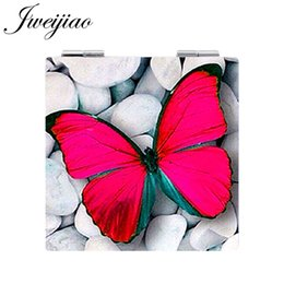 $enCountryForm.capitalKeyWord Australia - JWEIJIAO ART Photo Butterfly Pocket Mirrors Square shaped 1X 2X Magnifying Folding Mini PU Leather espejo Makeup Mirrors