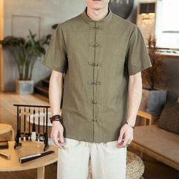 $enCountryForm.capitalKeyWord Australia - M-5XL Mandarin Collar Shirt For Men Streetwear Single Breasted Short Sleeve Plus Size Office Shirts Plain Color Blouse Male