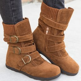 lady snow boots mid calf Australia - Winter Women Sock Snow Boots Faux Suede Slim Buckle Strap Zipper Platform Mid-Calf Flats Heel Ladies Shoes Botines Mujer