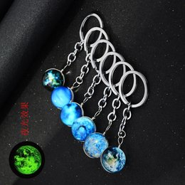 Making Coin Rings Australia - 12pcs lots Double sided Hand made Glass ball Luminous keychain Harajuku Universe Dream Noctilucent Starry sky Pendants Key Ring
