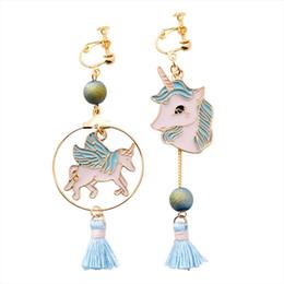 ca2773cd6 Asymmetric ring online shopping - Japanese and Korean fashion unicorn ring  fringed earrings sweet teen pony