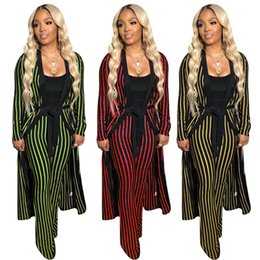 $enCountryForm.capitalKeyWord Australia - Women Two Piece Set Tracksuit Coat Sportswear Boot Cut Pants Outfits Striped Bell Bottom Pants Long Sleeve Jacket Fall HOT Selling 1038