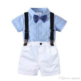 Short Sleeve veStS for kidS online shopping - Casual Summer Kids Boys Casual Clothing Suits Blank Shirts Bow Tie Belt Pants pieces Set Children Boys Designer Clothes for T