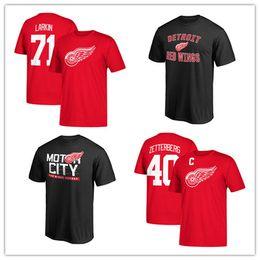 Discount men s khaki shirts - Men's Detroit Red Wings #71 Barry Larkin Red Hockey Jerseys 40# Henrik Zetterberg Sport T-shirt Free shipping men s