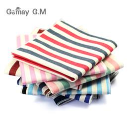 Striped Cotton Scarves Australia - High Quality Hankerchief Scarves Vintage Linen Hankies Men's Suit Pocket Square Handkerchiefs Print Cotton Striped Hanky