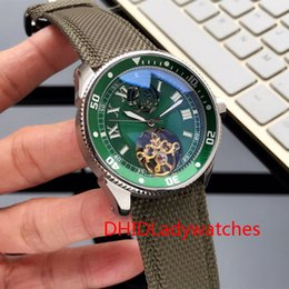 Three Pin Australia - Luxury men's watch Three-needle flywheel automatic movement 316 stainless steel case Green fashion leather pin buckle strap with box A485