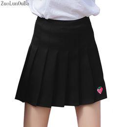 $enCountryForm.capitalKeyWord NZ - Women Skirts Fall Winter New Pleated Skirt Womens Korean Version Strawberry Embroidery High Waist A Word Skirt Mini Tutu