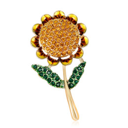 Flower Brooches UK - 2019 New Crystal Sunflower Brooch pin Flower Brooches Badge Fans Shirt Jacket brooch
