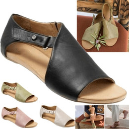Strap Muscles Australia - 2019 Fashion Women Summer Shoes Leather Flat Open Toe Sandals Buckle Strap Slippers Fish Mouth Sandals