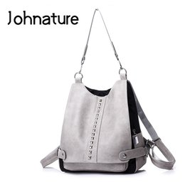 Strap Backpacks Australia - Johnature 2019 New Softback Zipper Arcuate Shoulder Strap Silt Pocket Solid Soft Handle Casual Rivet Women Backpack Shoulder Bag