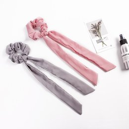Fashion Hair Scrunchies Australia - Hair Bows Scrunchies Ponytail Holder Women Hair Accessories Elastic Bands Bowknot Scrunchy Streamers Fashion Ribbon Hair Ring 50pcs