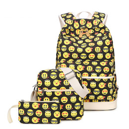 ba065b508e good quality 3 Pcs set Fashion Emoji Printing Backpack For Teenage Girls  Large Capacity Canvas School Bag Female Shoulder Bag