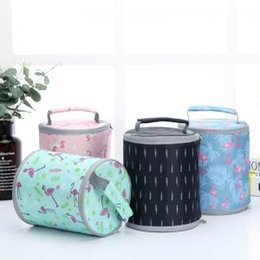 EastEr containEr online shopping - Portable Lunch Bags Round Waterproof Insulated Flamingo prin Food Drink Storage Bag Aluminum Foil Picnic Container box Bag Organizer GGA1648