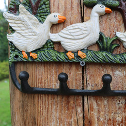 home key rack Canada - Wrought Iron Three Ducks Rack Metal Wall Mount Key Coat Towel Hat Holder Hook Hanger Wall Rack Practical Country Rural Home Office Decor