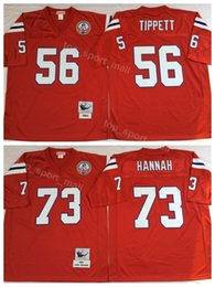 Football Jerseys For Teams Australia - Men Football 73 John Hannah Jersey Vintage Patriots 56 Andre Tippett Jerseys Team Color Red Breathable For Sport Fans Hot Sale
